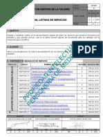 MANUAL LISTADO DE SERVICIOS