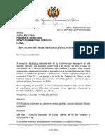 Carta a Presidenta Solicitando Ingreso Bolivianos
