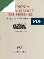 Spinoza Et La Liberte Des Homme - Preposiet, Jean, 1926
