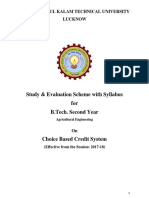 BTech II Year Study & Evaluation Scheme with Syllabus for Agricultural Engg. (Effective from 2017-18)