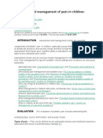 Evaluation and management of pain in children