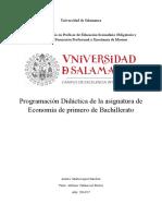 Programación didáctica de la asignatura de Economía de primero de Bachillerato