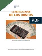 Generalidades de los Costos. 2018.