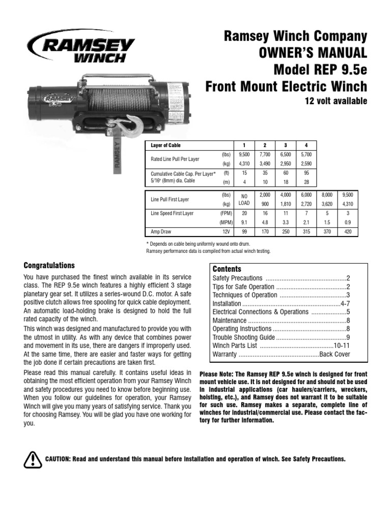 Ramsey Winch 9.5E | Clutch | Electrical Connector on