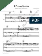 Partitura Acompañamiento Piano + Acordes Guitarra MI PERSONA FAVORITA Alejandro Sanz