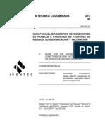 GTC 45 Guía para el diagnóstico de condiciones de trabajo o panorama de factores de riesgos, su identificación y valoración