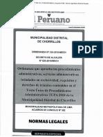 ORDENANZA 336-2018-MDCH TUPA CHORRILLOS