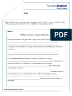 Young people and television student worksheet