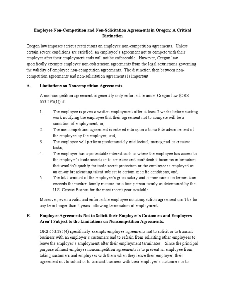 Employee Non Competition And Non Solicitation Agreements Lbh 110410