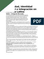 Diversidad, Identidad Cultural e Integración en América Latina