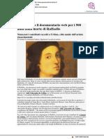 La RAI svela il documentario web per celebrare i 500 anni dalla morte di Raffaello - Pesarourbinonotizie.it,  aprile 2020