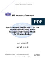 Application of ISO-IEC 17011 accreditation food safety management systems certification bodies Issue 1, V. 2 [2015]