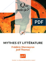 Mythes Et Litterature - Frederic Monneyron, Joel Thomas