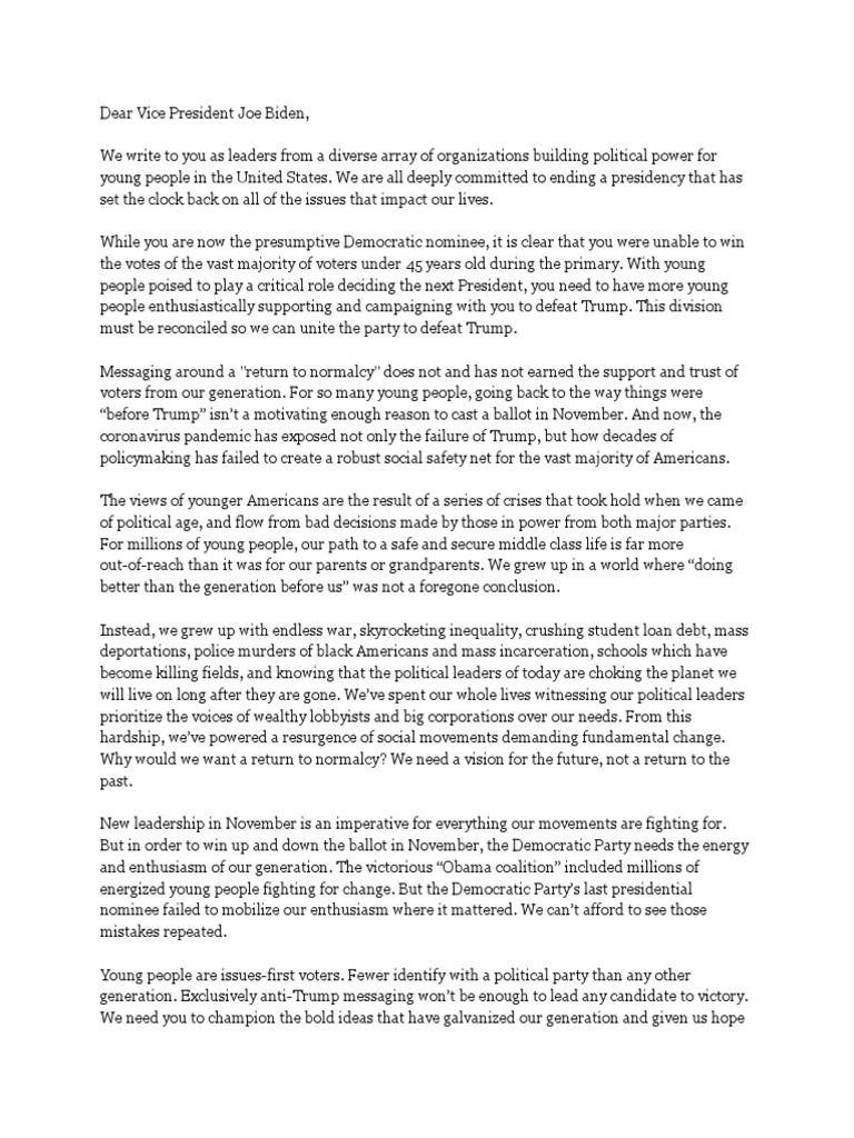 Letter To VP Joe Biden  PDF  Presidential Transition Of Barack