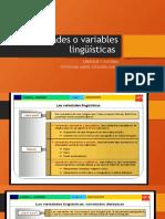 Variedades o variables lingüísticas