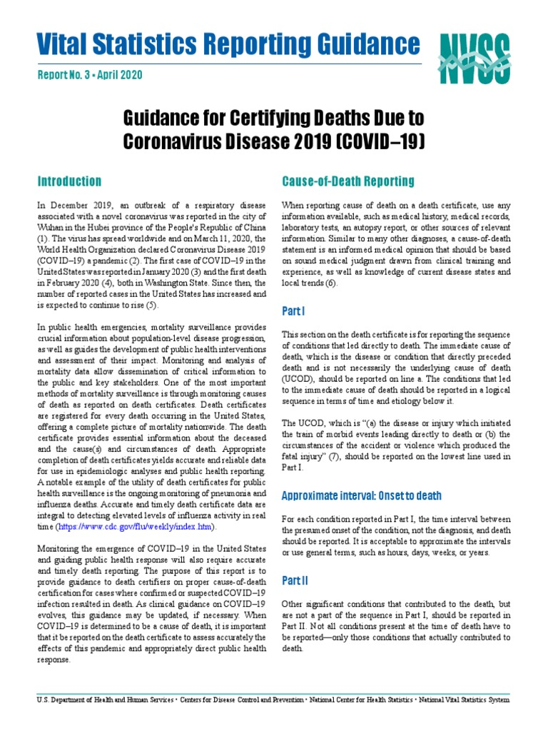US HHS Document to Doctors on How to Certify COVID-19 Deaths including Related Deaths | Death | Pneumonia