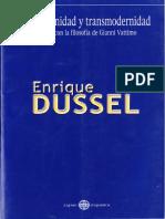 Dussel Enrique, Posmodernidad y transmodernidad. Diálogos con la filosofia de Gianni Vattimo Enrique Dussel