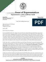Rep. Smith and Rep. Eskamani Letter to Gov. DeSantis Student Housing