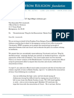 Freedom From Religion Foundation Letter to Will Ainsworth