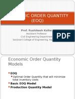 Economic Order Quantity EOQ MODEL
