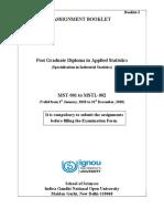 Ignou PGDAST Assignment Booklet Jan-Dec 2020
