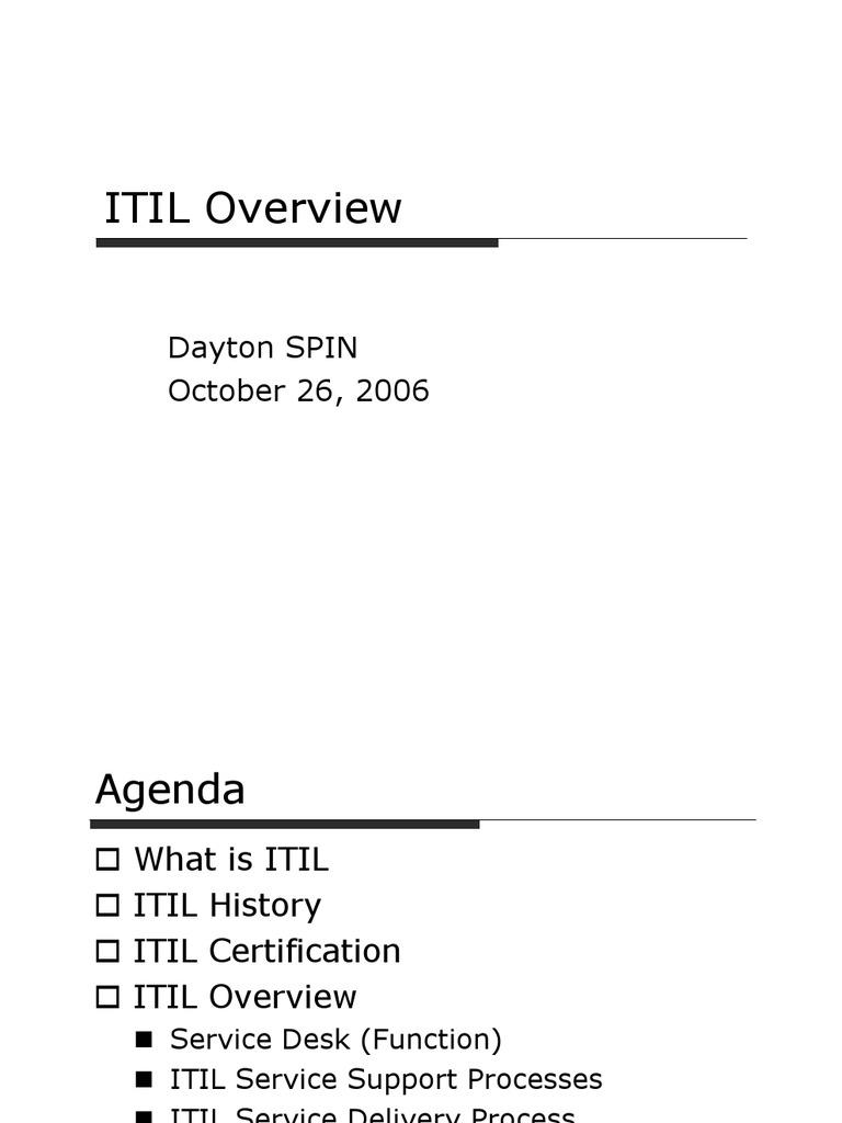Itil Overview Itil It Service Management