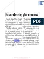 Distance Learning Plan Announced
