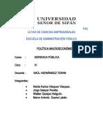 POLITICA MACROECONOMICA - ADM PUBLICA - MONOGRAFIA