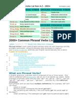 Common Phrasal Verbs List from A-Z - 2000+