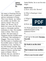 Read the text and answer the questions about Penelope Brown and her family.docx