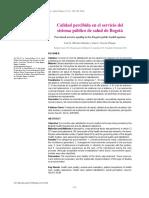 Calidad percibida en el servicio del sistema público de salud de Bogotá