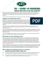 CORONAVIRUS – COVID 19 PANDEMIC RMT ADVICE TO MEMBERS EMPLOYED IN THE RAIL INDUSTRY