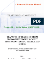 Training Mgmt Article Review 5 Transfer of Knowledge Holton Model