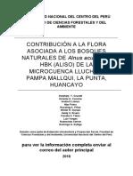 CONTRIBUCIÓN A LA FLORA ASOCIADA A LOS BOSQUES NATURALES DE Alnus acuminata HBK (ALISO) DE LA MICROCUENCA LLUCHOS, PAMPA MALLQUI, LA PUNTA, HUANCAYO