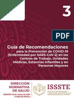 Guía de Recomendaciones para la Prevención de COVID-19 (Enfermedad por SARS-CoV-2) en los Centros de Trabajo, Unidades Médicas, Estancias Infantiles y en Personas Mayores