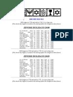 Jewish Holidays 2008-2011