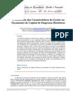 A Influência das Características do Gestor no orcamento de capital de empresas hoteleiras