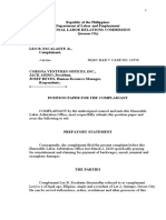 Position Paper in Labor Cases
