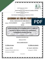 MEMOIRE DE CYCLE II EN GESTION DES PROJETS (OPTION MANAGEMENT)