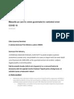 Măsurile Pe Care Le Cerem Guvernului În Contextul Crizei COVID 19