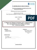 L'Impact de l'Image de Marque Sur Le Comportement Des Consommateurs de La Wilaya de Bejaia