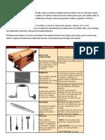 zonas del claro oscuro y herramientas de madera