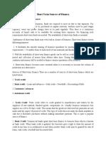 Short Term Sources of Finance