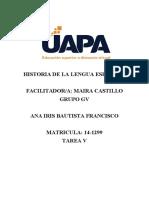 TAREA 5 HISTORIA DE LA LENGUA ESPANOLA