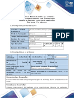 Guía de actividades y rúbrica de evaluación - Pre tarea - Pre saberes