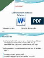 Unité II-S2-5 Le traitement de texte- mise en forme des paragraphes.pptx