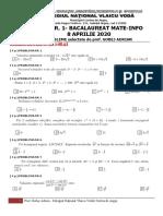 FIȘA NR. 1 (8 APRILIE 2020) MODEL BACALAUREAT MATE-INFO IULIE 2020 - fara barem