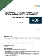 PROGRAMA DEL TALLER DE FORMACIÓN DE FORMADORES
