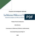 Las Relaciones Públicas es el tercer sector. Desarrollo de la disciplina en las ONG de la ciudad
