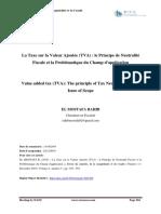 45. La Taxe sur la Valeur Ajoutée (TVA) le Principe de Neutralité Fiscale et la Problématique du Champ d'application